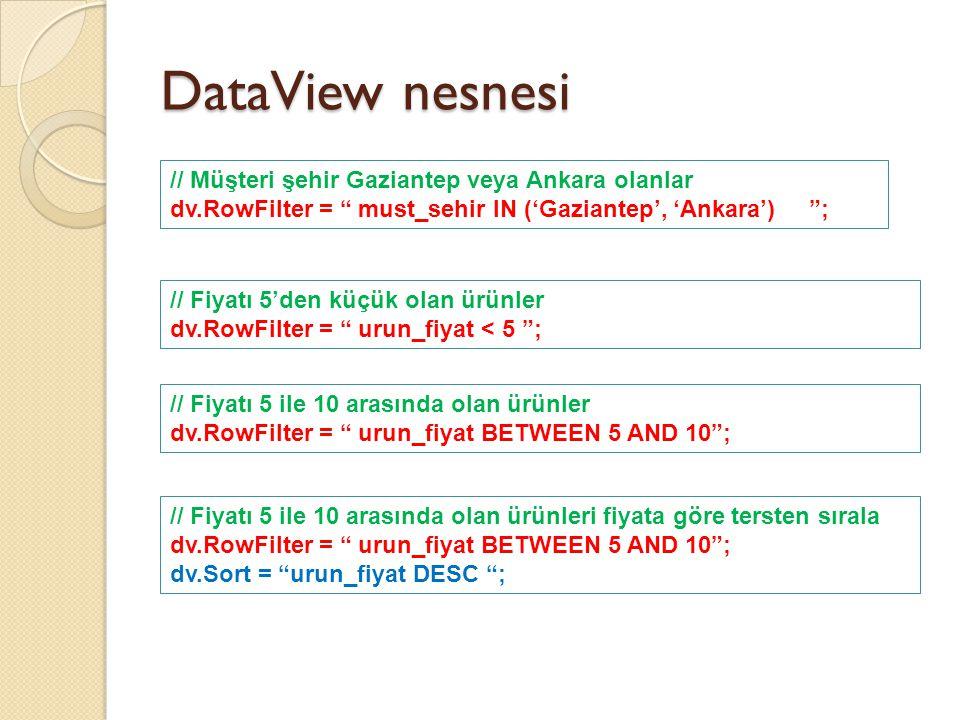 DataView nesnesi DataView üzerinde RowFilter ve Sort ile istenen işlemler yapıldıktan sonra, elde edilen veriler istenen görsel kontrole ba ğ lanabilir.....
