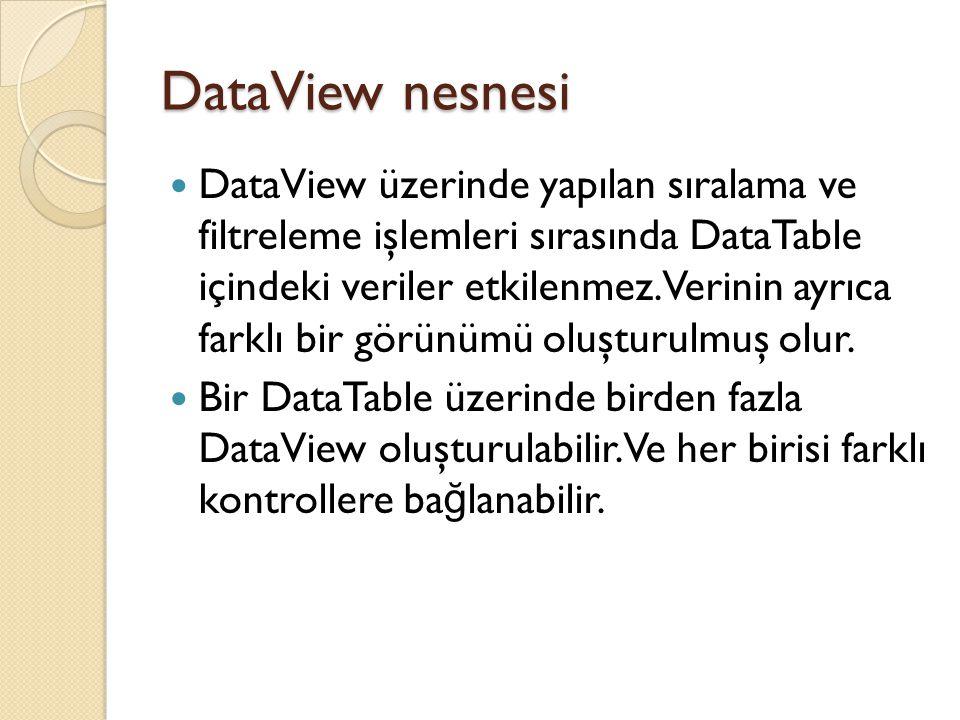 DataView nesnesi DataView üzerinde yapılan sıralama ve filtreleme işlemleri sırasında DataTable içindeki veriler etkilenmez. Verinin ayrıca farklı bir