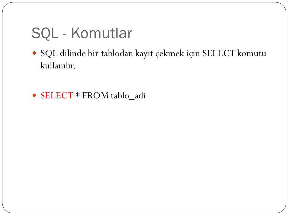 SQL - Komutlar SQL dilinde bir tablodan kayıt çekmek için SELECT komutu kullanılır. SELECT * FROM tablo_adi