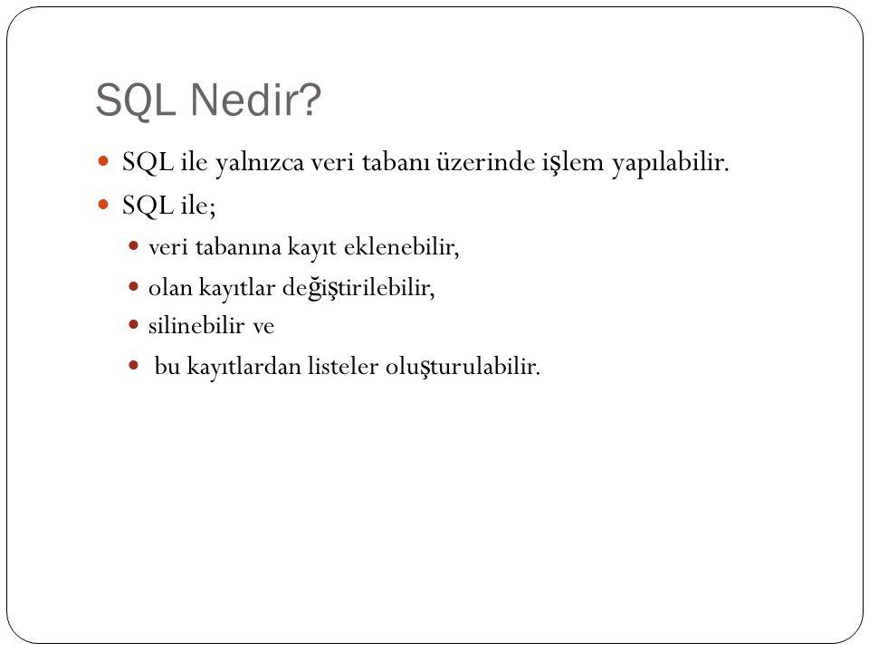 SQL Nedir? SQL ile yalnızca veri tabanı üzerinde i ş lem yapılabilir. SQL ile; veri tabanına kayıt eklenebilir, olan kayıtlar de ğ i ş tirilebilir, si