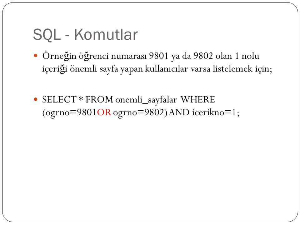 SQL - Komutlar Örne ğ in ö ğ renci numarası 9801 ya da 9802 olan 1 nolu içeri ğ i önemli sayfa yapan kullanıcılar varsa listelemek için; SELECT * FROM