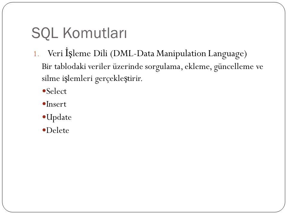 SQL - Komutlar Örne ğ in adı Serdar ya da soyadı Kubalı olan kullanıcıların bilgilerini listelemek için; SELECT * FROM kullanici_bilgileri WHERE ad= Serdar OR soyad= Kubalı ;