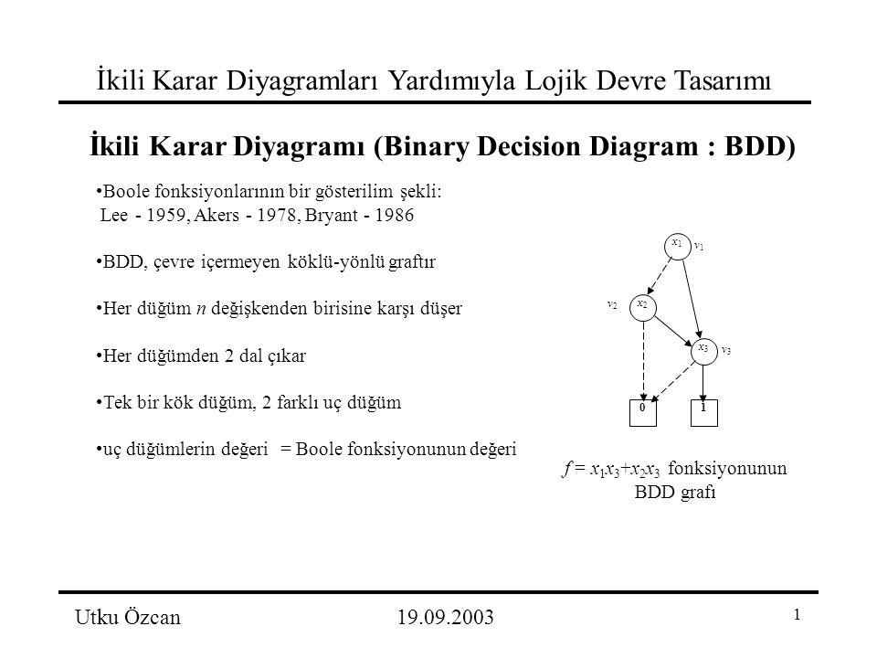 1 İkili Karar Diyagramları Yardımıyla Lojik Devre Tasarımı Utku Özcan19.09.2003 İkili Karar Diyagramı (Binary Decision Diagram : BDD) Boole fonksiyonlarının bir gösterilim şekli: Lee - 1959, Akers - 1978, Bryant - 1986 BDD, çevre içermeyen köklü-yönlü graftır Her düğüm n değişkenden birisine karşı düşer Her düğümden 2 dal çıkar Tek bir kök düğüm, 2 farklı uç düğüm uç düğümlerin değeri = Boole fonksiyonunun değeri x1x1 x2x2 x3x3 10 v1v1 v2v2 v3v3 f = x 1 x 3 +x 2 x 3 fonksiyonunun BDD grafı
