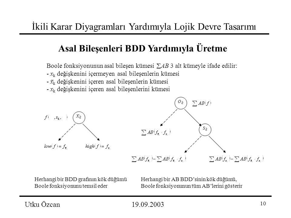 10 İkili Karar Diyagramları Yardımıyla Lojik Devre Tasarımı Utku Özcan19.09.2003 Boole fonksiyonunun asal bileşen kümesi  AB 3 alt kümeyle ifade edilir: - x k değişkenini içermeyen asal bileşenlerin kümesi - x k değişkenini içeren asal bileşenlerin kümesi - x k değişkenini içeren asal bileşenlerini kümesi Asal Bileşenleri BDD Yardımıyla Üretme xkxk Herhangi bir BDD grafının kök düğümü Boole fonksiyonunu temsil eder okok sksk Herhangi bir AB BDD'sinin kök düğümü, Boole fonksiyonunun tüm AB'lerini gösterir