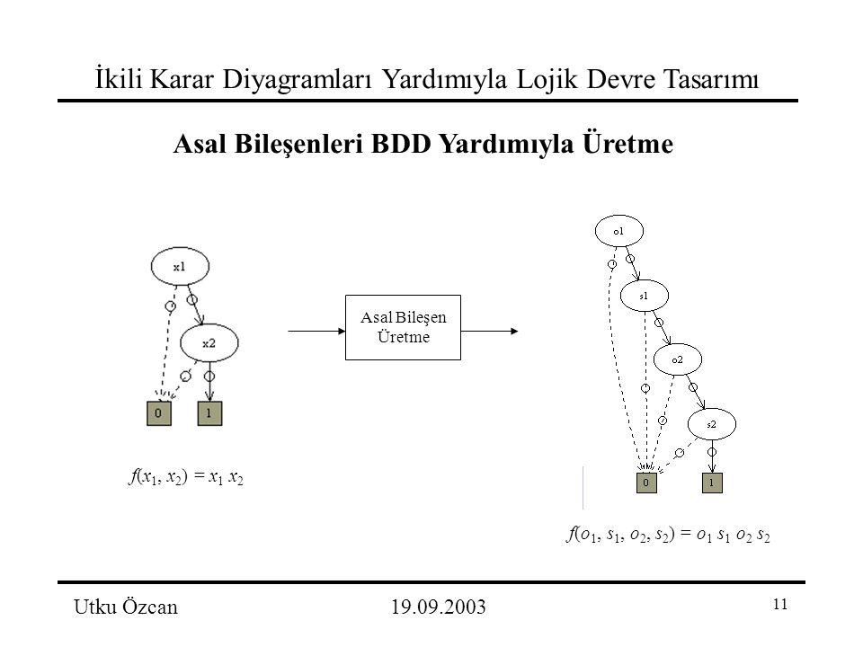 11 İkili Karar Diyagramları Yardımıyla Lojik Devre Tasarımı Utku Özcan19.09.2003 Asal Bileşenleri BDD Yardımıyla Üretme f(x 1, x 2 ) = x 1 x 2 f(o 1, s 1, o 2, s 2 ) = o 1 s 1 o 2 s 2 Asal Bileşen Üretme