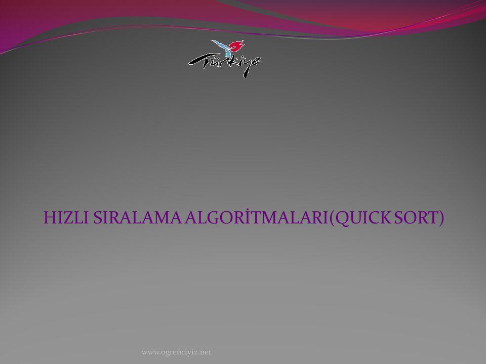 HIZLI SIRALAMA ALGORİTMALARI(QUICK SORT) www.ogrenciyiz.net