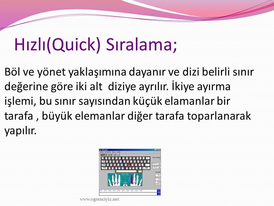 Hızlı(Quick) Sıralama; Böl ve yönet yaklaşımına dayanır ve dizi belirli sınır değerine göre iki alt diziye ayrılır. İkiye ayırma işlemi, bu sınır sayı