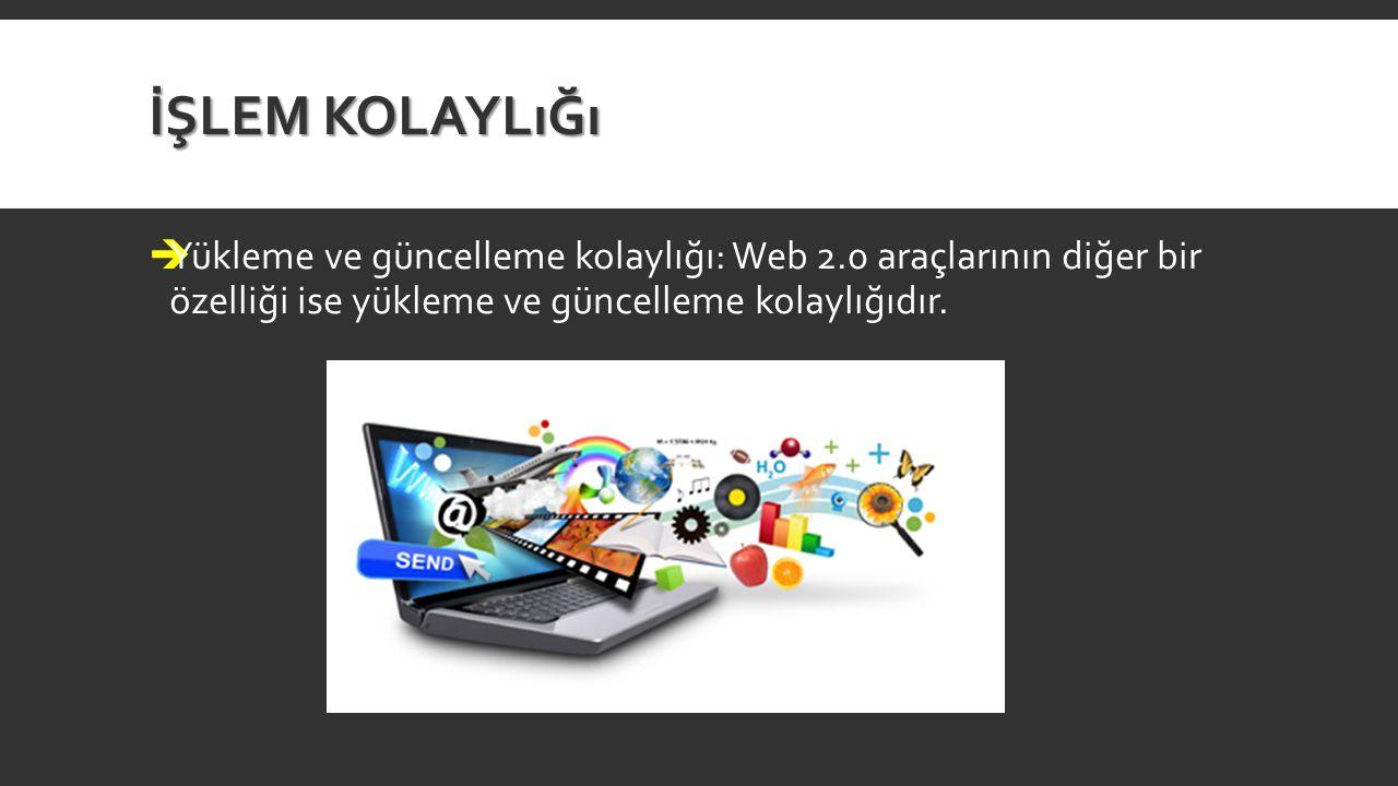 İŞLEM KOLAYLıĞı  Yükleme ve güncelleme kolaylığı: Web 2.0 araçlarının diğer bir özelliği ise yükleme ve güncelleme kolaylığıdır.