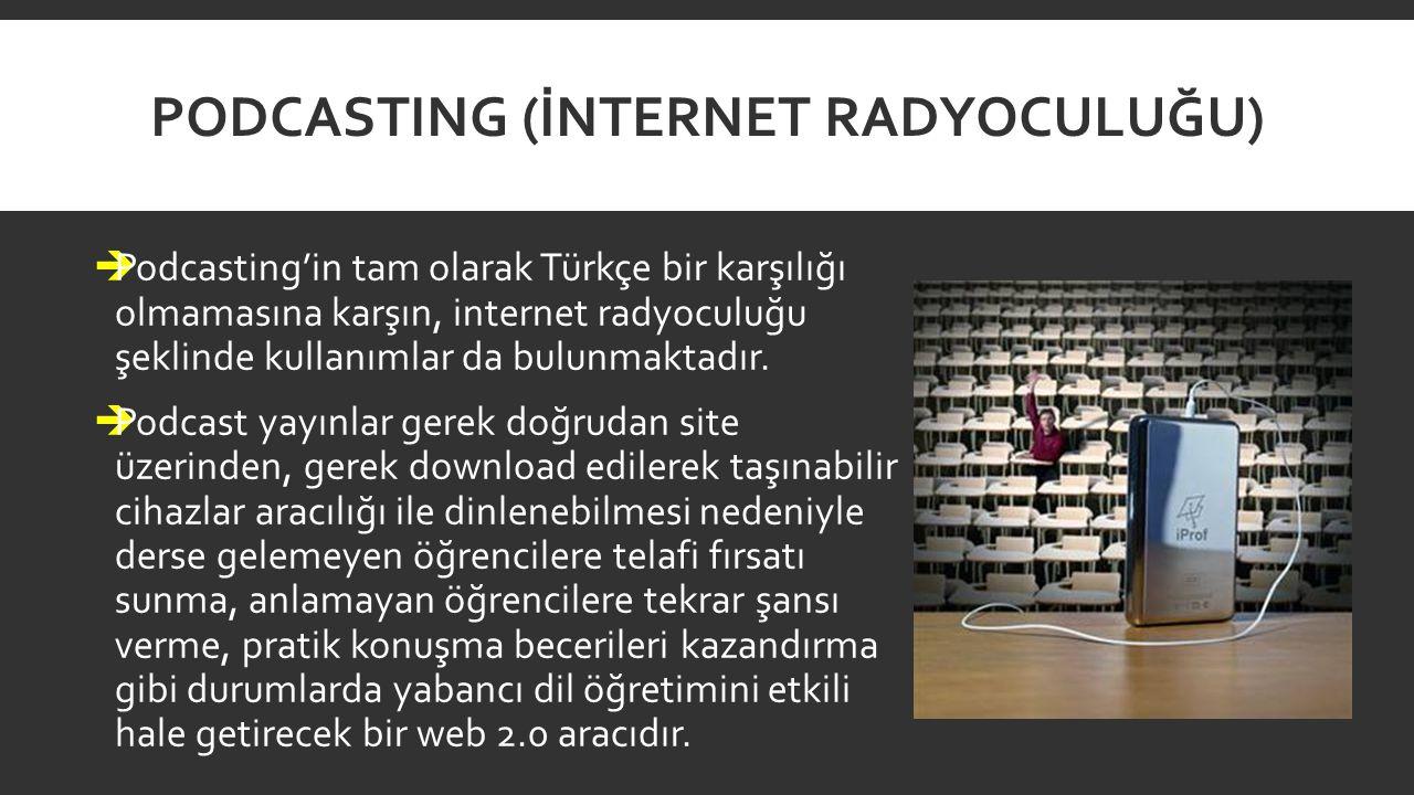 PODCASTING (İNTERNET RADYOCULUĞU)  Podcasting'in tam olarak Türkçe bir karşılığı olmamasına karşın, internet radyoculuğu şeklinde kullanımlar da bulu