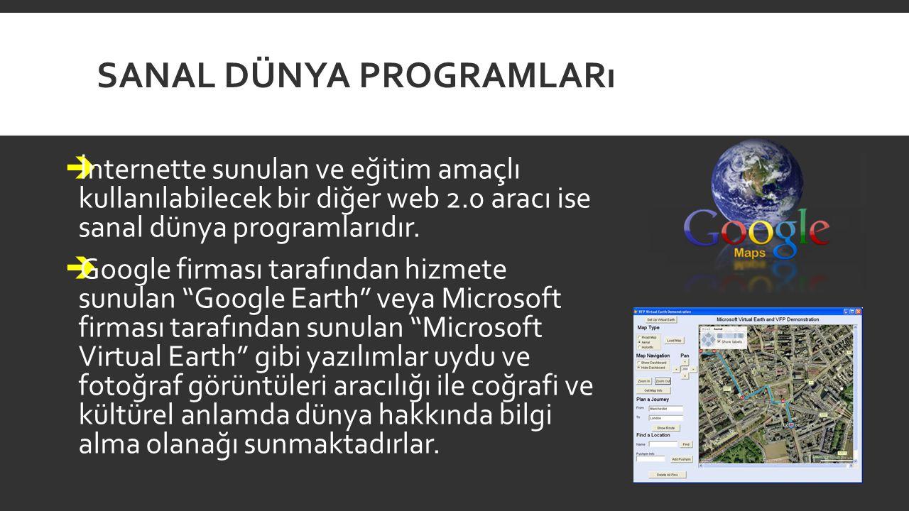 SANAL DÜNYA PROGRAMLARı  İnternette sunulan ve eğitim amaçlı kullanılabilecek bir diğer web 2.0 aracı ise sanal dünya programlarıdır.  Google firmas