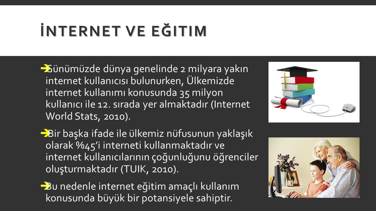 İNTERNET VE EĞITIM  Günümüzde dünya genelinde 2 milyara yakın internet kullanıcısı bulunurken, Ülkemizde internet kullanımı konusunda 35 milyon kulla