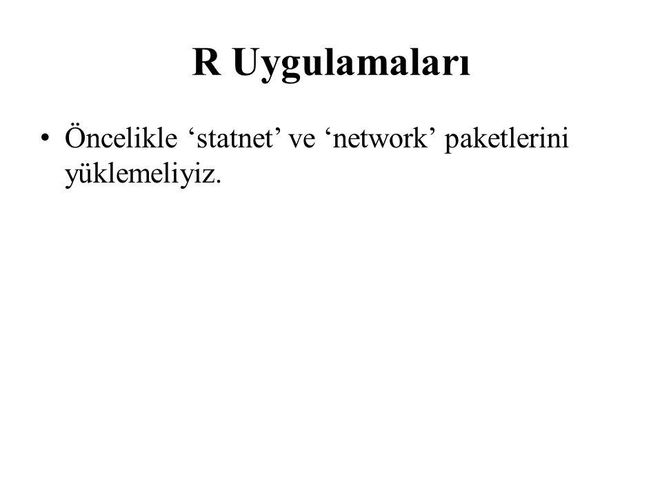 R Uygulamaları Öncelikle 'statnet' ve 'network' paketlerini yüklemeliyiz.