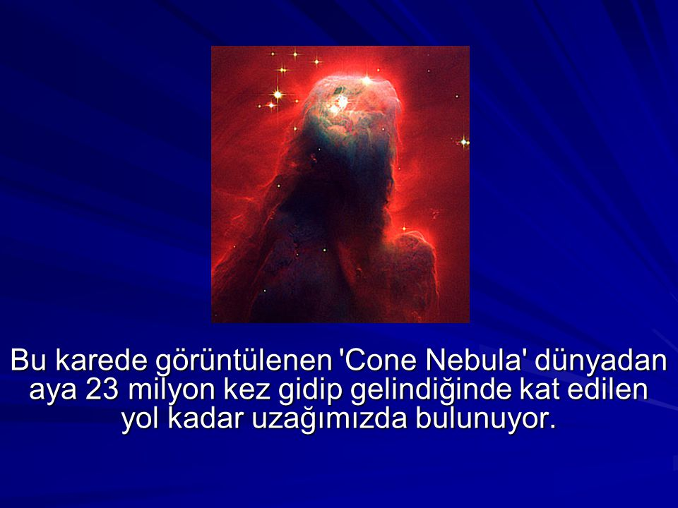 Bu karede görüntülenen 'Cone Nebula' dünyadan aya 23 milyon kez gidip gelindiğinde kat edilen yol kadar uzağımızda bulunuyor.