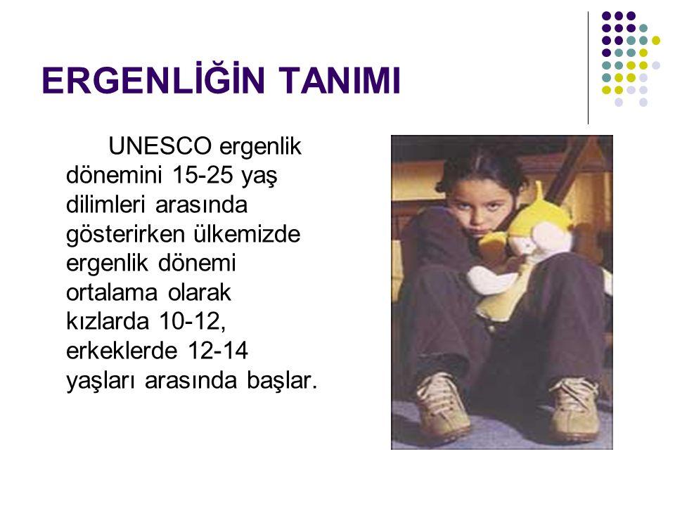 ERGENLİĞİN TANIMI UNESCO ergenlik dönemini 15-25 yaş dilimleri arasında gösterirken ülkemizde ergenlik dönemi ortalama olarak kızlarda 10-12, erkekler