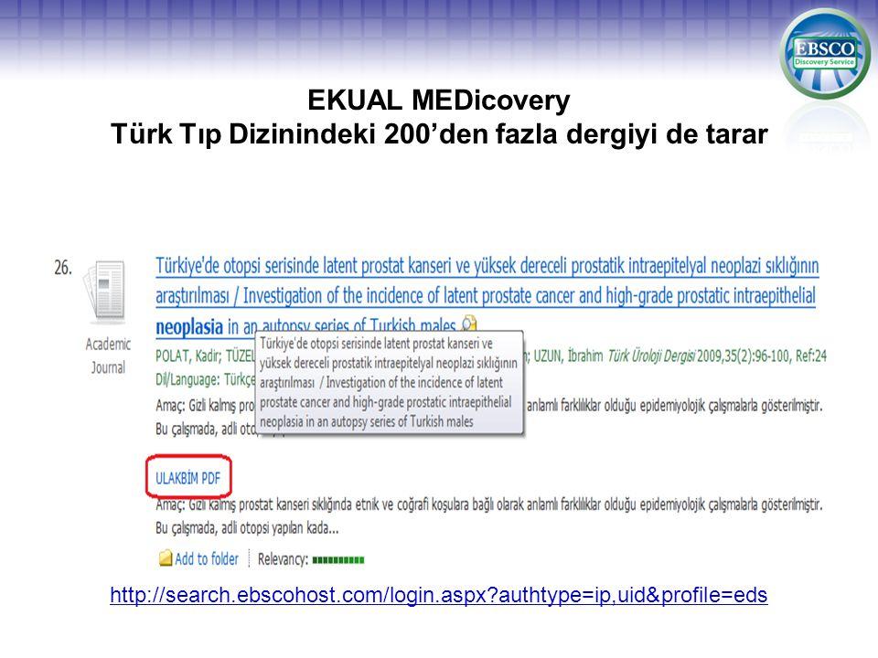 EKUAL MEDicovery Türk Tıp Dizinindeki 200'den fazla dergiyi de tarar http://search.ebscohost.com/login.aspx authtype=ip,uid&profile=eds