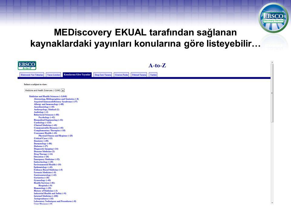 MEDiscovery EKUAL tarafından sağlanan kaynaklardaki yayınları konularına göre listeyebilir…