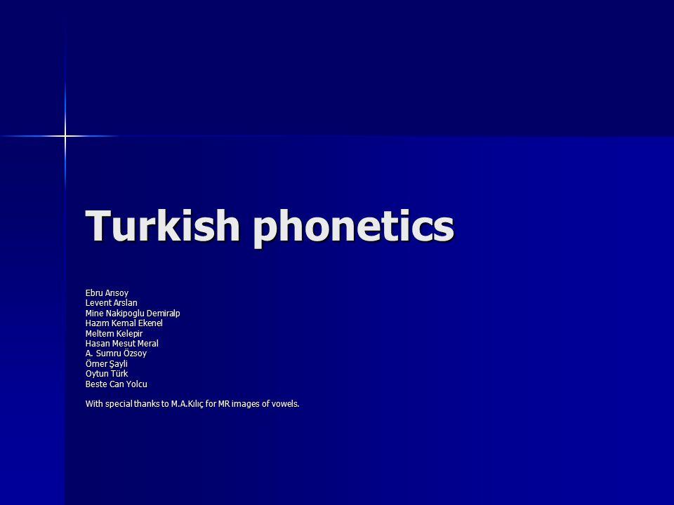 Consonants: Allophones of Turkish Consonantal Phonemes _______________________________________________________________________________________________________________________ labioalveo- labioalveo- bilabial dental dental alveolar palatal palatal velar glottal bilabial dental dental alveolar palatal palatal velar glottal_______________________________________________________________________________________________________________________ p h pil t h top c h kâr-kir k h kar p h pil t h top c h kâr-kir k h kar voiceless p toprak t atkı c ekmek k aktar voiceless p toprak t atkı c ekmek k aktar stops ---------------------------------------------------------------------------------------------------------------------------------------------------------------------- voiced b bol d dal  rüzgar-gel g gaga voiced b bol d dal  rüzgar-gel g gaga_______________________________________________________________________________________________________________________ voiceless ф ufuk f fils sis š şan ç his x sabah h hayır voiceless ф ufuk f fils sis š şan ç his x sabah h hayır fricatives ----------------------------------------------------------------------------------------------------------------------------------------------------------------- voiced β bavul v verz siz ž jale voiced β bavul v verz siz ž jale _____________________ duvar _____________________________________________________________________________________________ voiceless č çan voiceless č çan affricates ---------------------------------------------------------------------------------------------------------------------------------------------------------------- voiced jˇ can voiced jˇ can_______________________________________________________________________________________________________________________ nasal m masa  şamfıstığ ı n nine  yenge  banka _______________________________________________________________________________________________________________________ lateral l lale-il ł kal lateral l lale-il ł