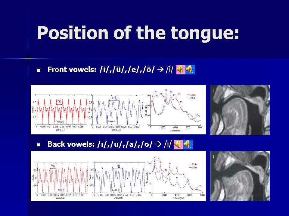 Position of the tongue: Front vowels: /i/,/ü/,/e/,/ö/  /i/ Front vowels: /i/,/ü/,/e/,/ö/  /i/ Back vowels: /ı/,/u/,/a/,/o/  /ı/ Back vowels: /ı/,/u/,/a/,/o/  /ı/