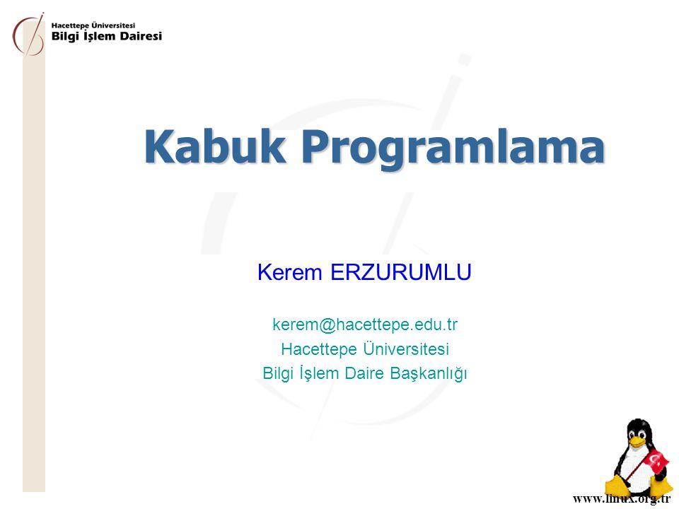 www.linux.org.tr Kabuk Programlama Kerem ERZURUMLU kerem@hacettepe.edu.tr Hacettepe Üniversitesi Bilgi İşlem Daire Başkanlığı