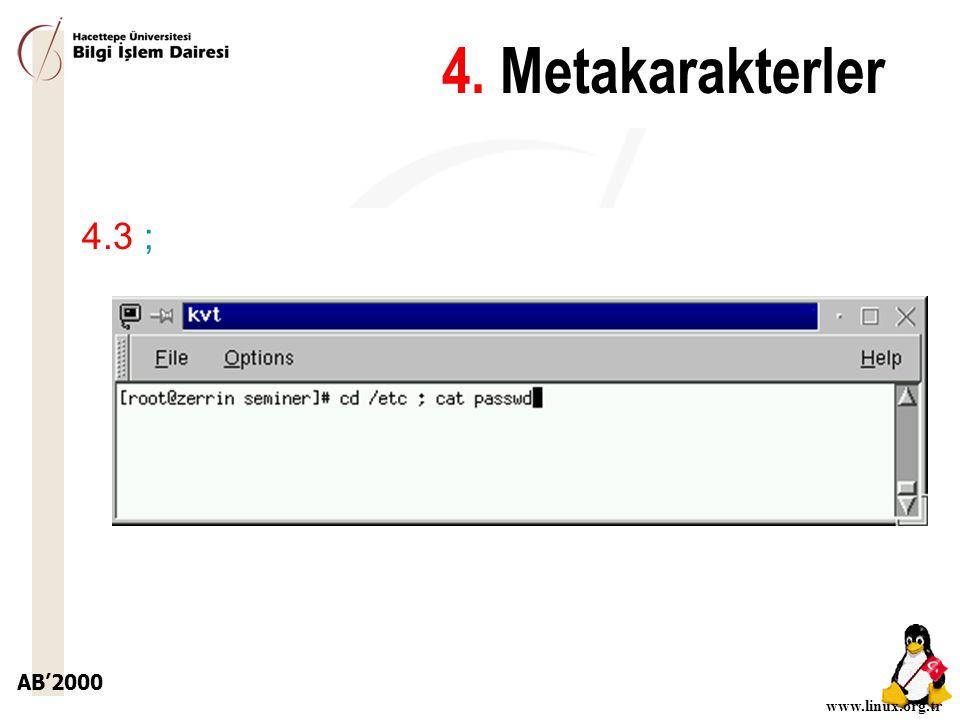 AB'2000 www.linux.org.tr 4.3 ; 4. Metakarakterler
