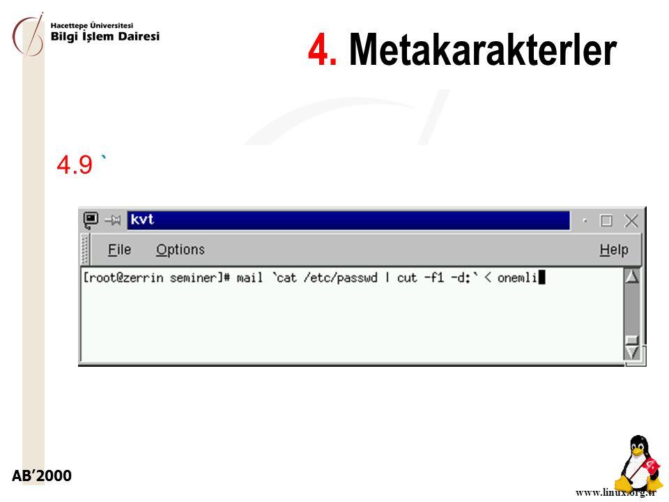AB'2000 www.linux.org.tr 4.9 ` 4. Metakarakterler