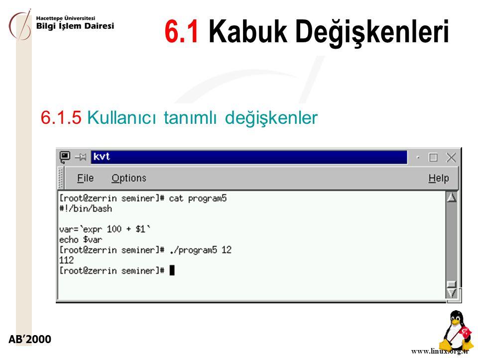 AB'2000 www.linux.org.tr 6.1.5 Kullanıcı tanımlı değişkenler 6.1 Kabuk Değişkenleri