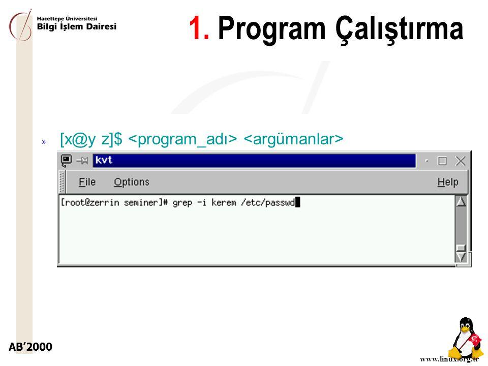 AB'2000 www.linux.org.tr 1. Program Çalıştırma » [x@y z]$