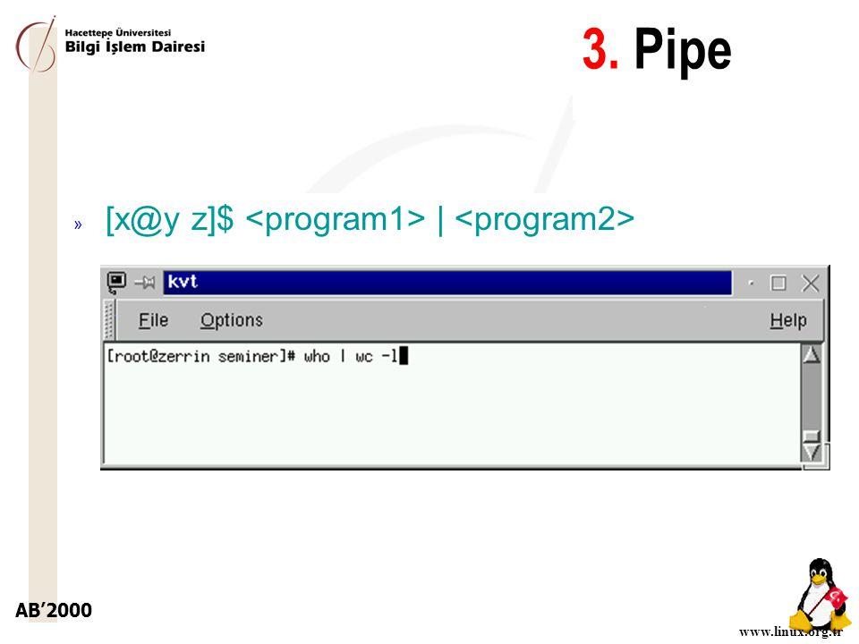 AB'2000 www.linux.org.tr 3. Pipe » [x@y z]$ |