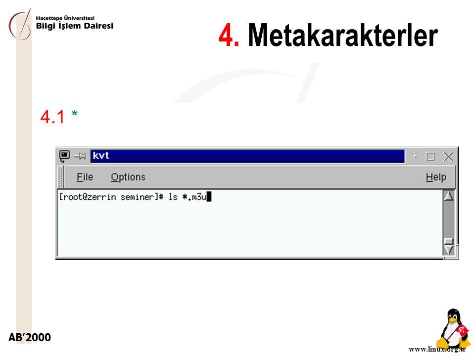 AB'2000 www.linux.org.tr 4.1 * 4. Metakarakterler