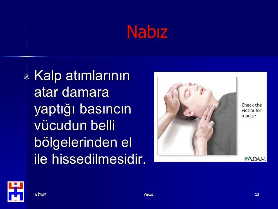 BİYEMVücut13 Nabız Kalp atımlarının atar damara yaptığı basıncın vücudun belli bölgelerinden el ile hissedilmesidir.