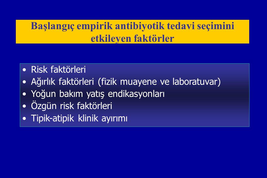 Risk faktörleri Ağırlık faktörleri (fizik muayene ve laboratuvar) Yoğun bakım yatış endikasyonları Özgün risk faktörleri Tipik-atipik klinik ayırımı B