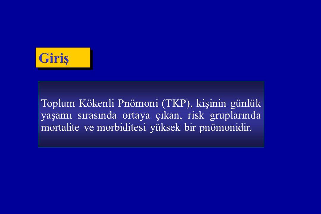 Toplum Kökenli Pnömoni (TKP), kişinin günlük yaşamı sırasında ortaya çıkan, risk gruplarında mortalite ve morbiditesi yüksek bir pnömonidir. Giriş