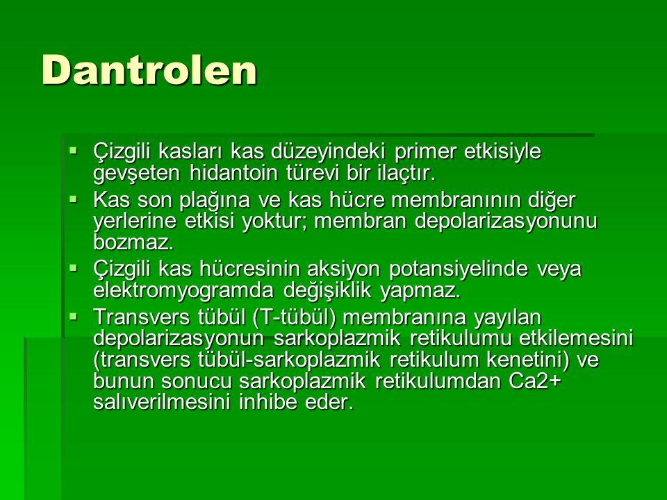 Dantrolen  Çizgili kasları kas düzeyindeki primer etkisiyle gevşeten hidantoin türevi bir ilaçtır.  Kas son plağına ve kas hücre membranının diğer y