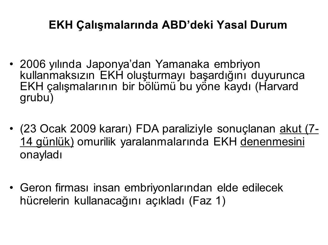 EKH Çalışmalarında ABD'deki Yasal Durum 2006 yılında Japonya'dan Yamanaka embriyon kullanmaksızın EKH oluşturmayı başardığını duyurunca EKH çalışmalar