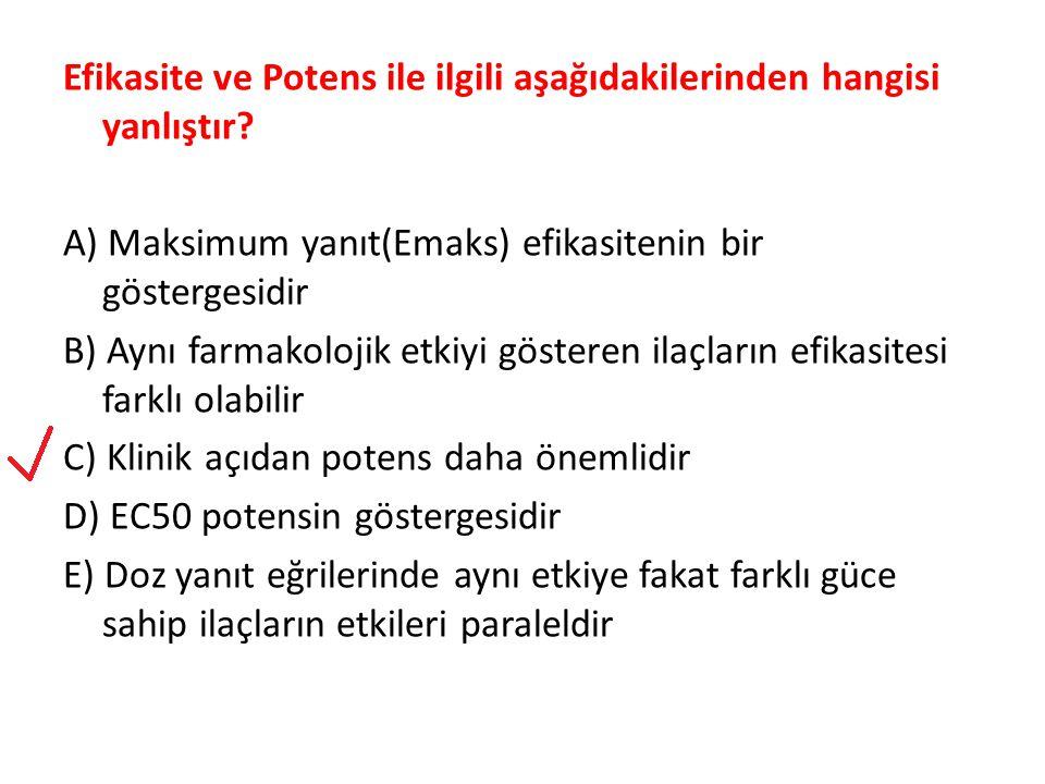 Efikasite ve Potens ile ilgili aşağıdakilerinden hangisi yanlıştır? A) Maksimum yanıt(Emaks) efikasitenin bir göstergesidir B) Aynı farmakolojik etkiy