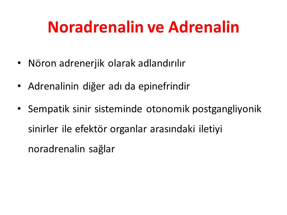 Noradrenalin ve Adrenalin Nöron adrenerjik olarak adlandırılır Adrenalinin diğer adı da epinefrindir Sempatik sinir sisteminde otonomik postgangliyoni