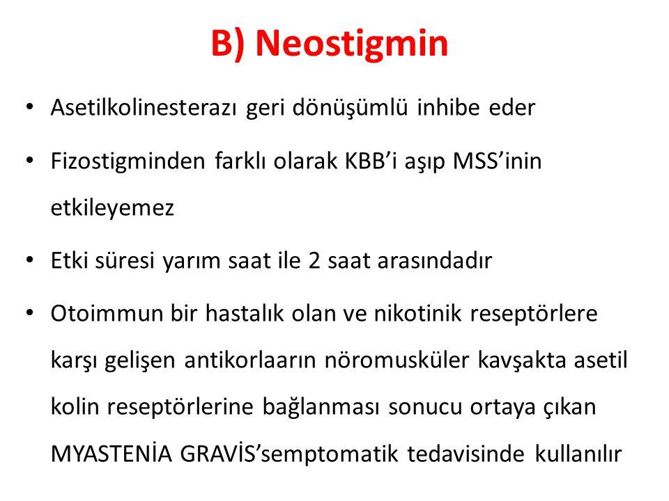 B) Neostigmin Asetilkolinesterazı geri dönüşümlü inhibe eder Fizostigminden farklı olarak KBB'i aşıp MSS'inin etkileyemez Etki süresi yarım saat ile 2
