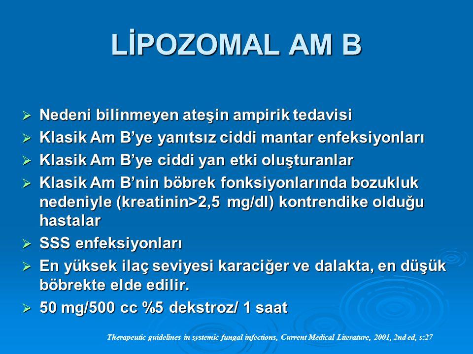 LİPOZOMAL AM B  Nedeni bilinmeyen ateşin ampirik tedavisi  Klasik Am B'ye yanıtsız ciddi mantar enfeksiyonları  Klasik Am B'ye ciddi yan etki oluşt