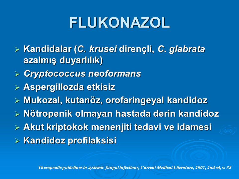 FLUKONAZOL  Kandidalar (C. krusei dirençli, C. glabrata azalmış duyarlılık)  Cryptococcus neoformans  Aspergillozda etkisiz  Mukozal, kutanöz, oro