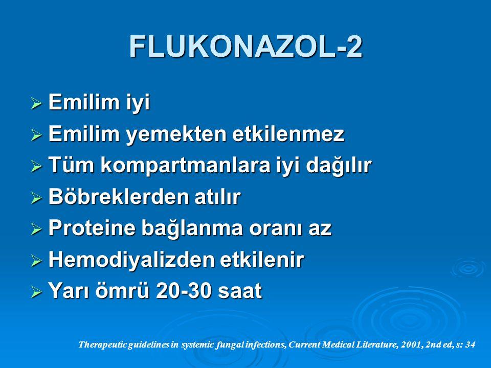 FLUKONAZOL-2  Emilim iyi  Emilim yemekten etkilenmez  Tüm kompartmanlara iyi dağılır  Böbreklerden atılır  Proteine bağlanma oranı az  Hemodiyal