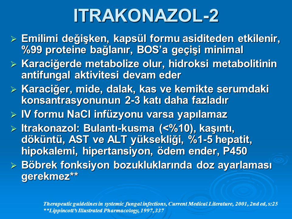 ITRAKONAZOL-2  Emilimi değişken, kapsül formu asiditeden etkilenir, %99 proteine bağlanır, BOS'a geçişi minimal  Karaciğerde metabolize olur, hidrok