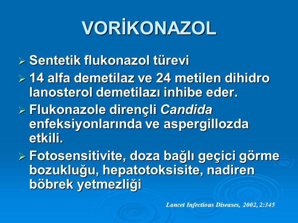 VORİKONAZOL  Sentetik flukonazol türevi  14 alfa demetilaz ve 24 metilen dihidro lanosterol demetilazı inhibe eder.  Flukonazole dirençli Candida e