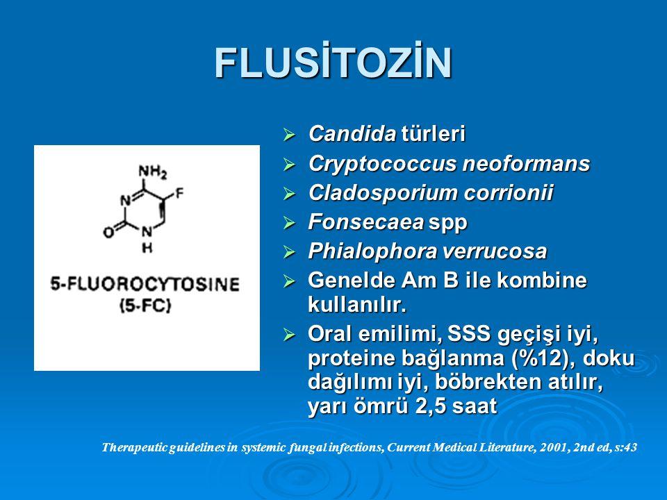 FLUSİTOZİN  Candida türleri  Cryptococcus neoformans  Cladosporium corrionii  Fonsecaea spp  Phialophora verrucosa  Genelde Am B ile kombine kul