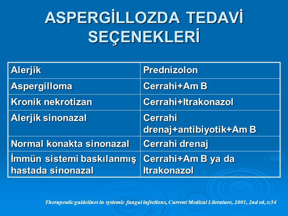 ASPERGİLLOZDA TEDAVİ SEÇENEKLERİ AlerjikPrednizolon Aspergilloma Cerrahi+Am B Kronik nekrotizan Cerrahi+Itrakonazol Alerjik sinonazal Cerrahi drenaj+a