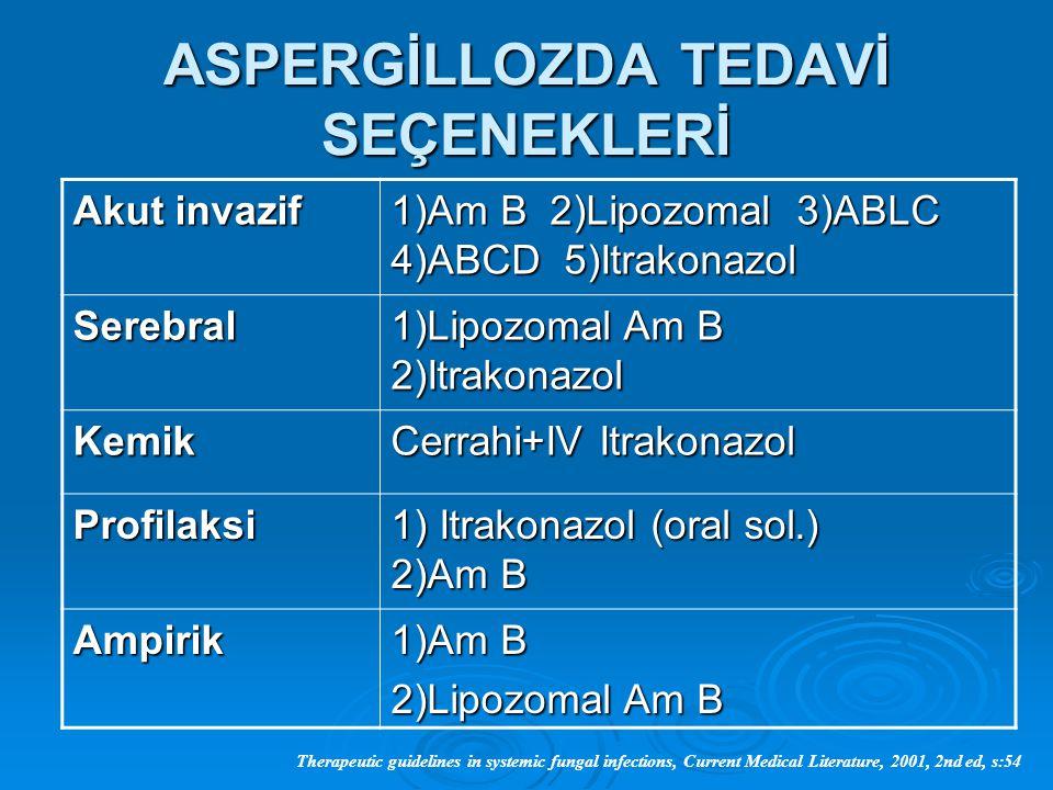 ASPERGİLLOZDA TEDAVİ SEÇENEKLERİ Akut invazif 1)Am B 2)Lipozomal 3)ABLC 4)ABCD 5)Itrakonazol Serebral 1)Lipozomal Am B 2)Itrakonazol Kemik Cerrahi+IV