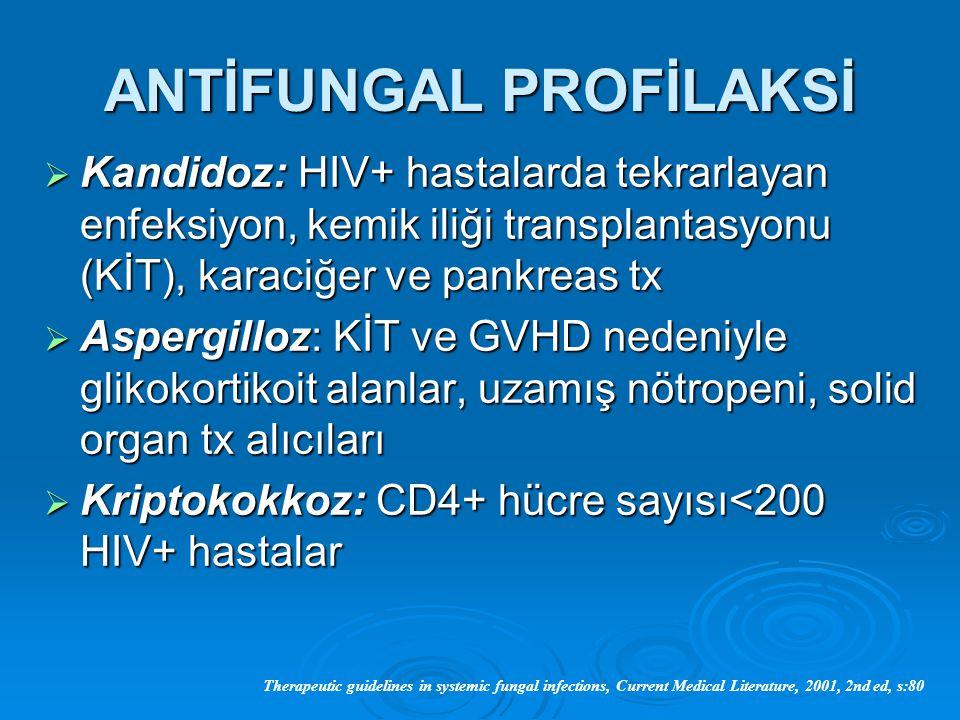 ANTİFUNGAL PROFİLAKSİ  Kandidoz: HIV+ hastalarda tekrarlayan enfeksiyon, kemik iliği transplantasyonu (KİT), karaciğer ve pankreas tx  Aspergilloz: