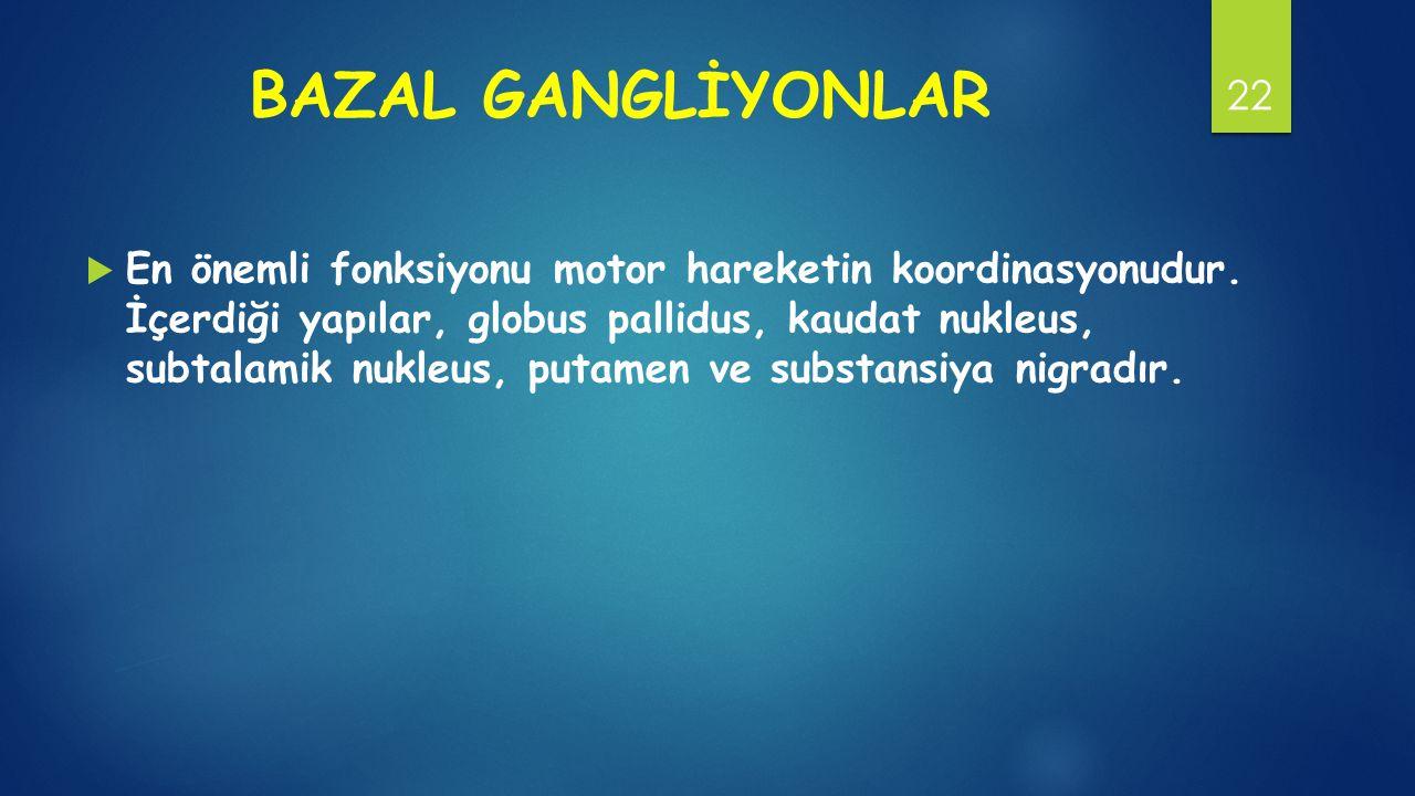 BAZAL GANGLİYONLAR  En önemli fonksiyonu motor hareketin koordinasyonudur.