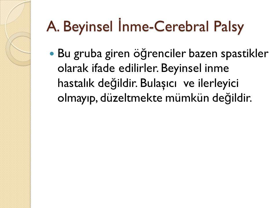 A. Beyinsel İ nme-Cerebral Palsy Bu gruba giren ö ğ renciler bazen spastikler olarak ifade edilirler. Beyinsel inme hastalık de ğ ildir. Bulaşıcı ve i