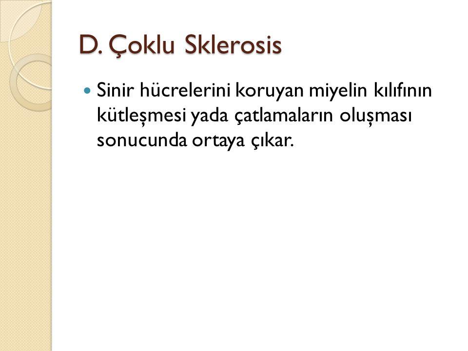 D. Çoklu Sklerosis Sinir hücrelerini koruyan miyelin kılıfının kütleşmesi yada çatlamaların oluşması sonucunda ortaya çıkar.