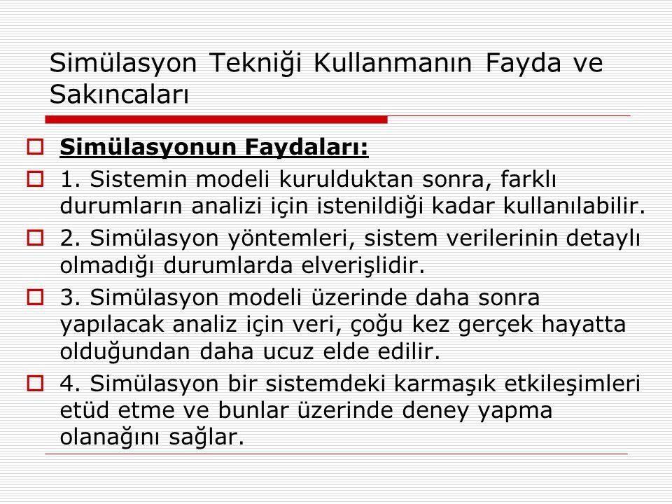Simülasyon Tekniği Kullanmanın Fayda ve Sakıncaları  Simülasyonun Faydaları:  1. Sistemin modeli kurulduktan sonra, farklı durumların analizi için i